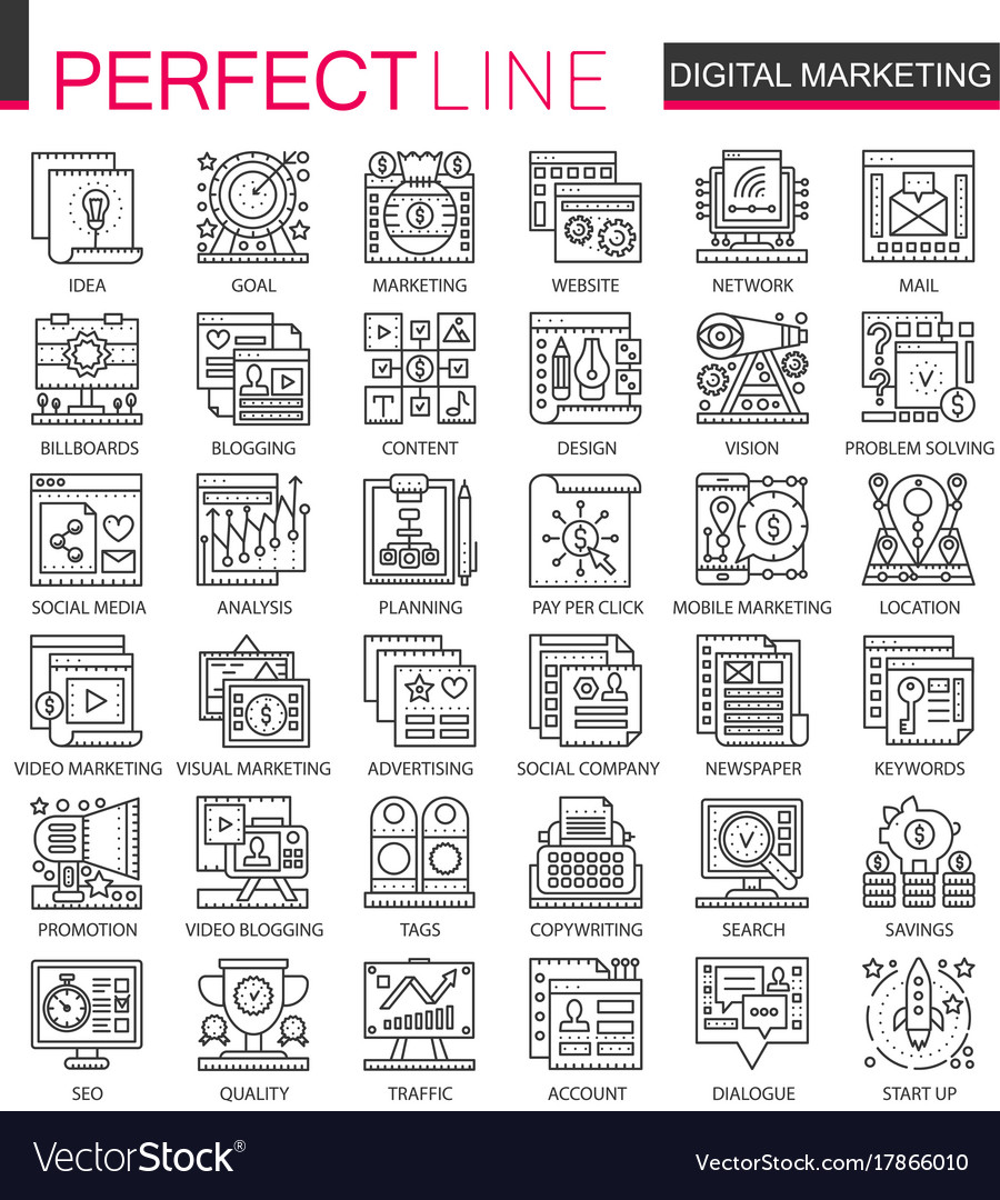 Digital marketing outline mini concept symbols