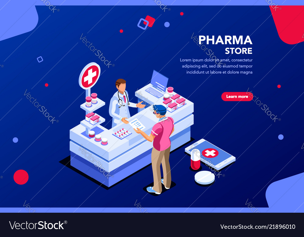 Drugstore with patient and pharmacist
