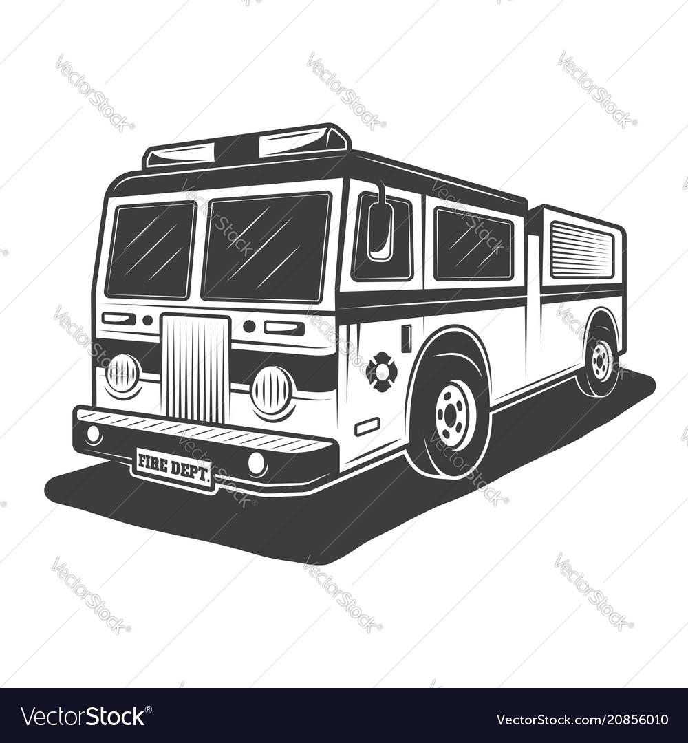 Fire truck monochrome style