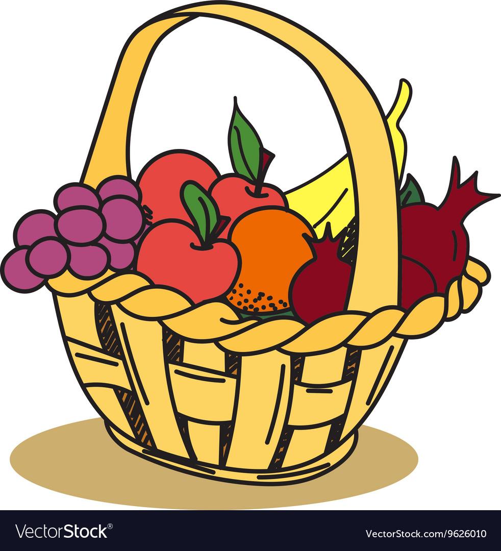 Hand Drawn Fruit Basket Stickers