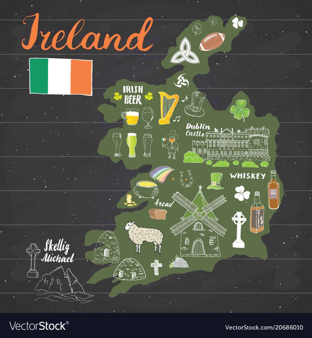 Ireland sketch doodles hand drawn irish elements vector image