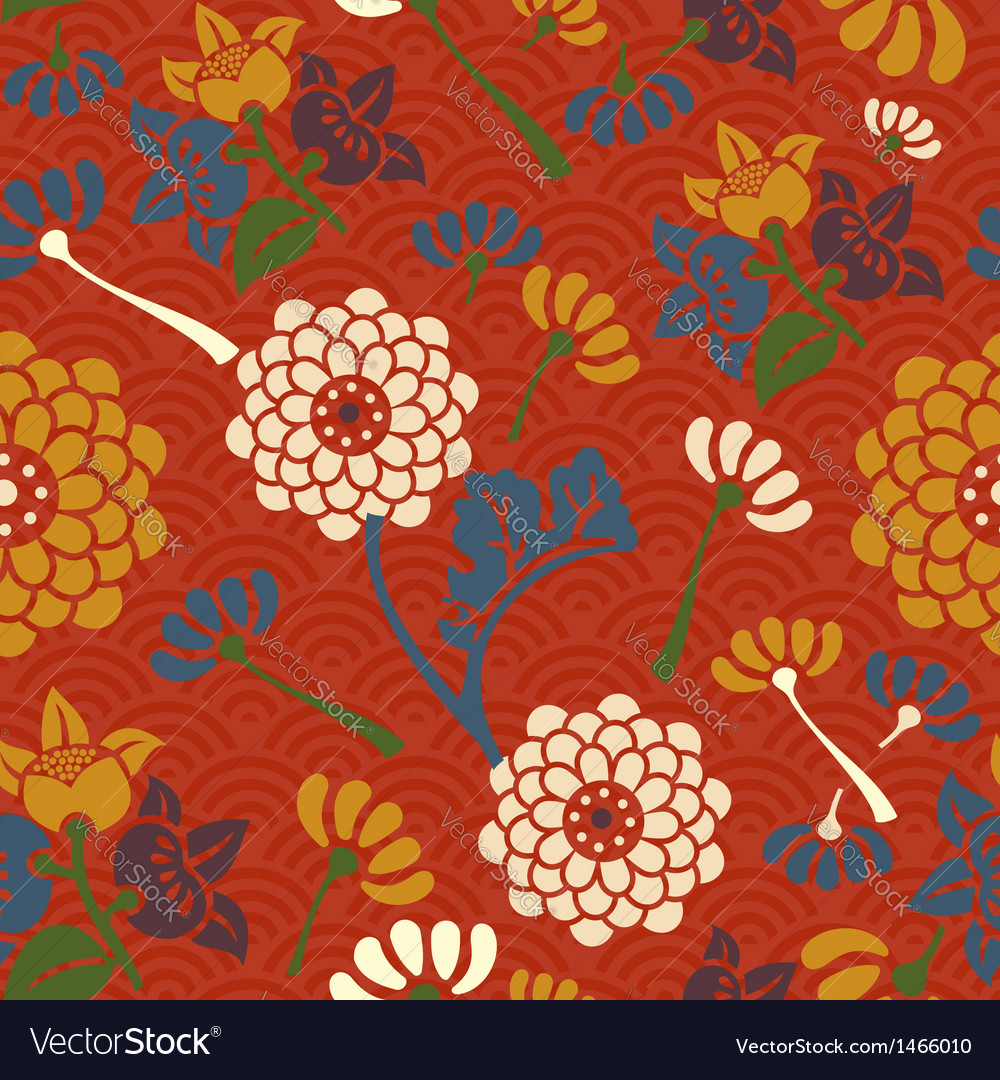 Oriental Flowers Seamless Pattern Royalty Free Vector Image