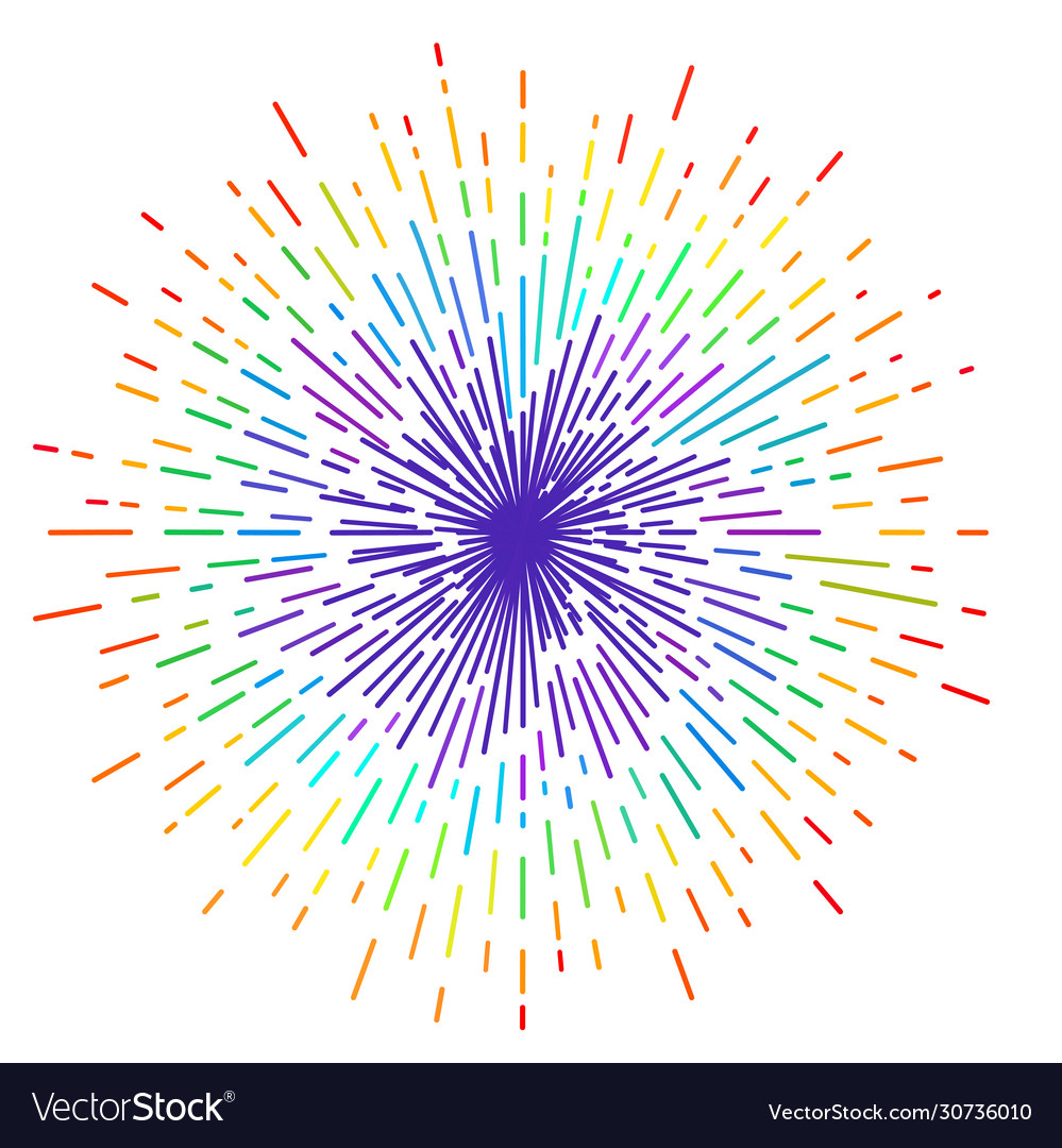 Outline drawing rays sun in rainbow