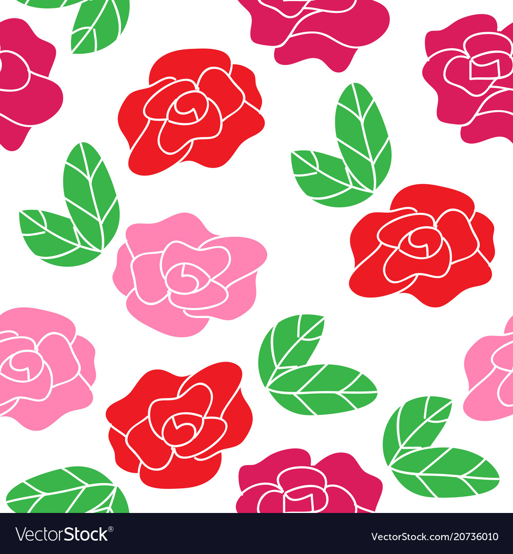 Seamless roses pattern floral background