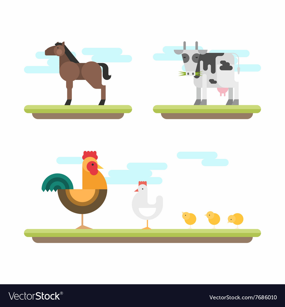 Set of Cute Flat Style Farm Animals Horse Cow