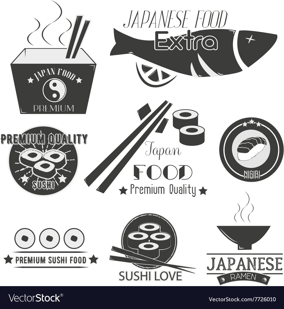 Set of sushi labels Japanese food