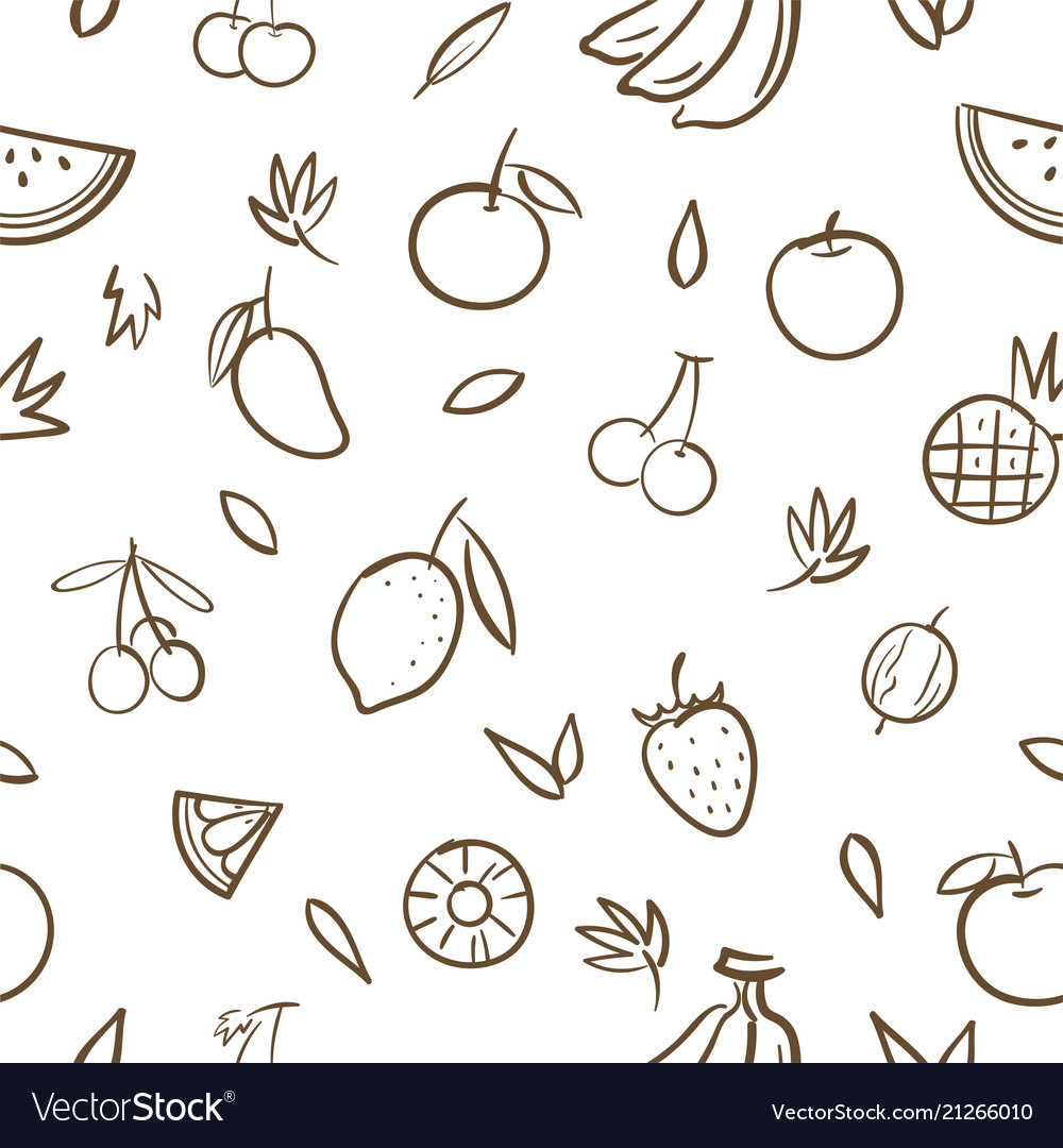 Sketch of mix cute fruits seamless pattern
