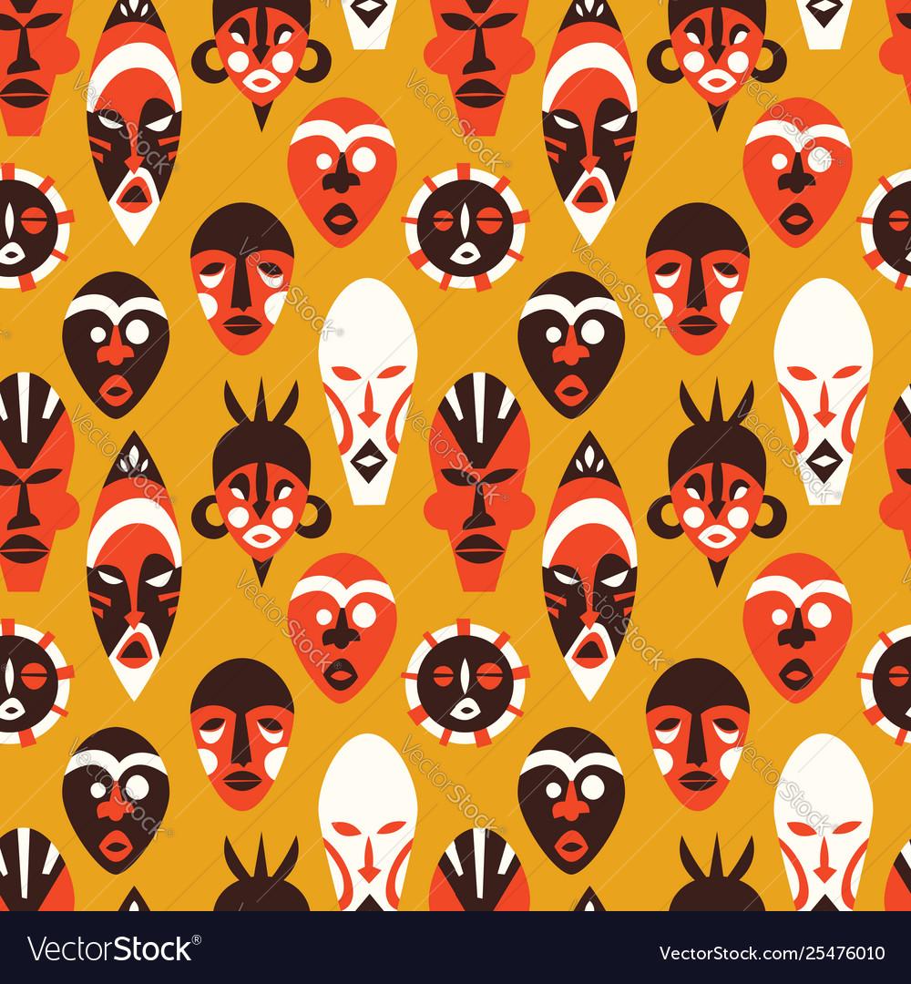 Tribal african mask art background pattern