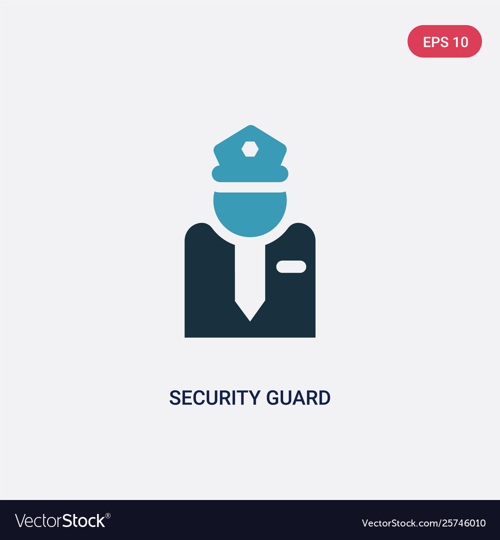 Two color security guard icon from museum concept