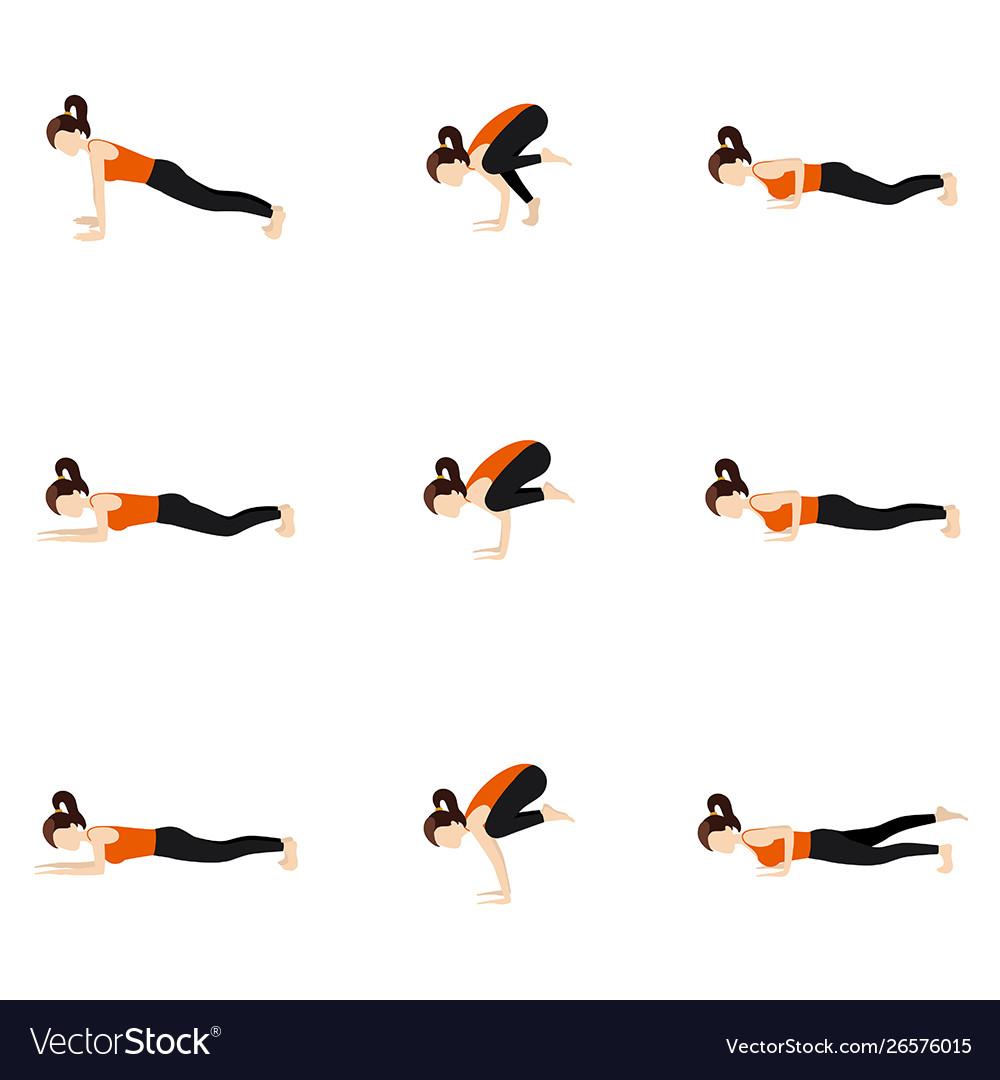 Arm balance yoga poses set Royalty Free Vector Image