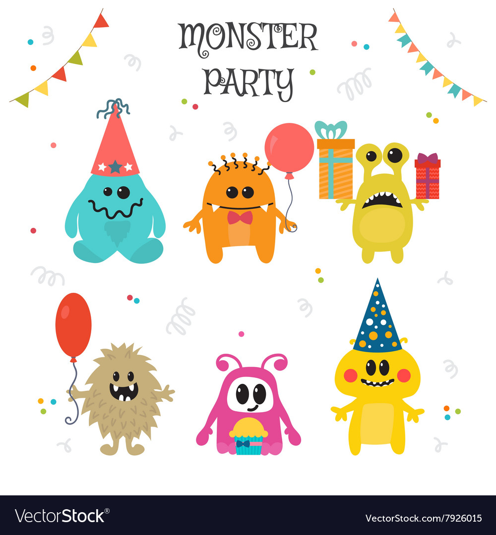Cute little monsters birthday party Royalty Free Vector