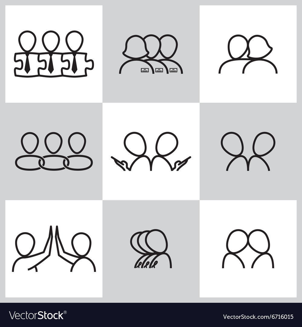 Line icons set of communication related vector image