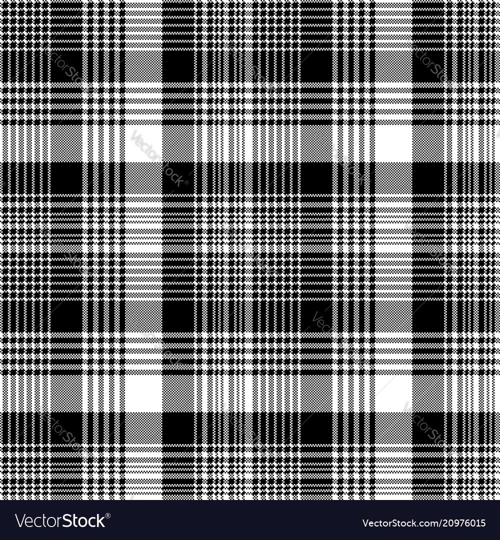 Tartan plaid black white fabric texture seamless