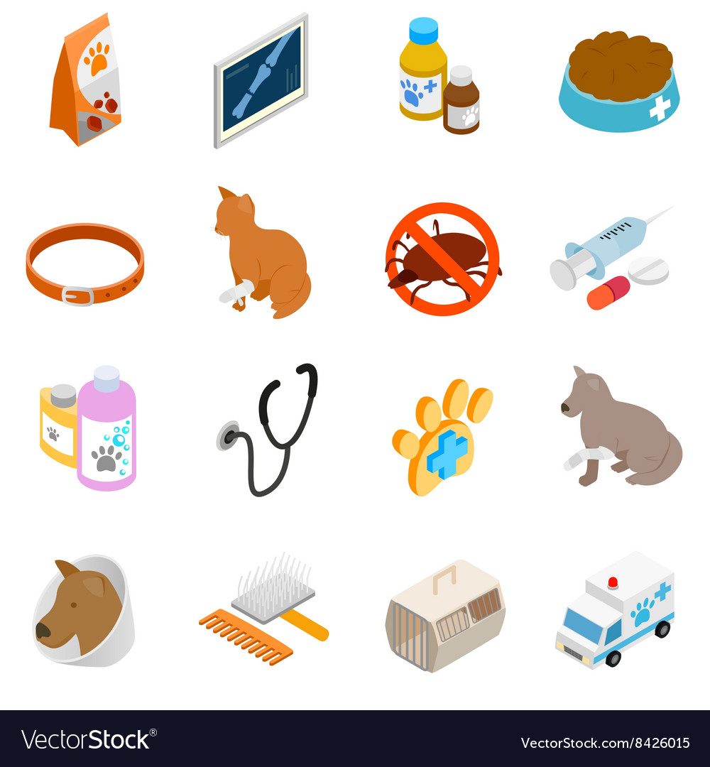 Veterinary icons set isometric 3d style