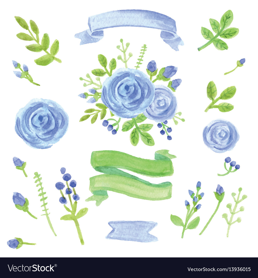 Watercolor blue floral decor set with ribbons