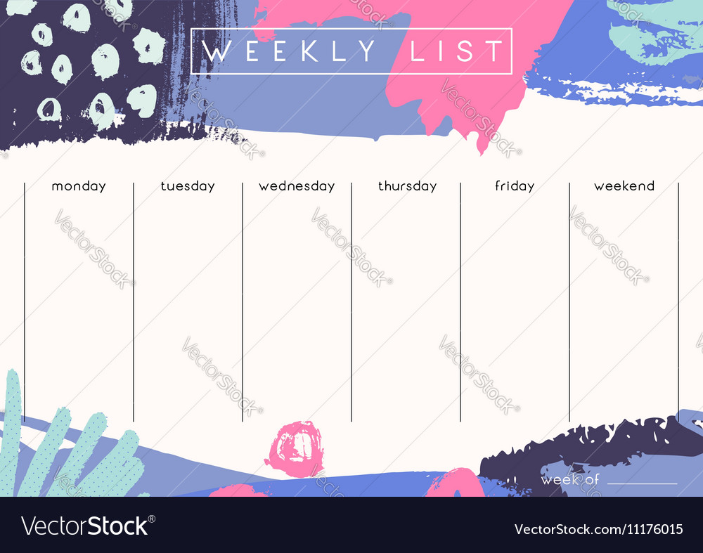 photo about Cute Weekly Planners referred to as Weekly Planner Template