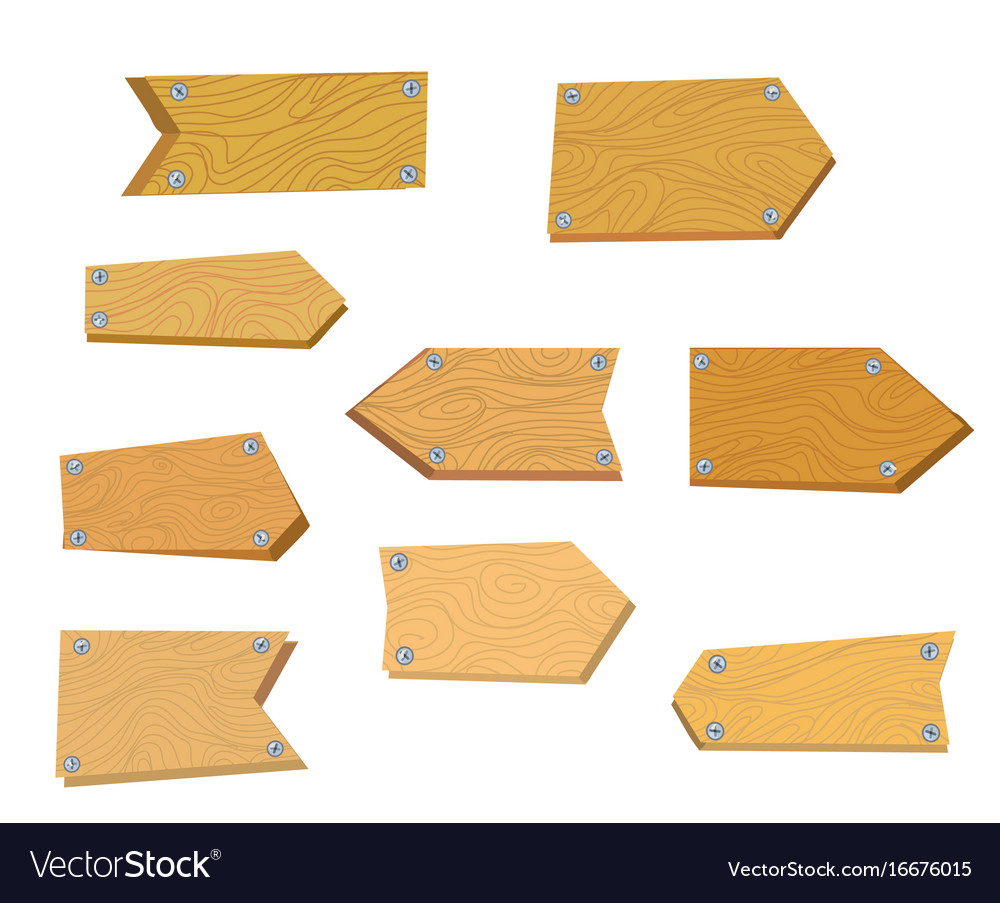 Wooden tables set for the signboards vector image