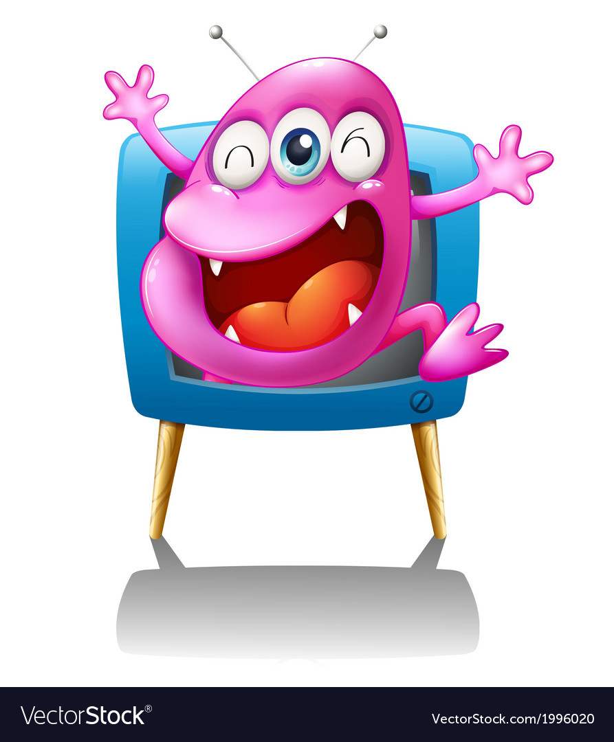 A blue TV with a pink monster