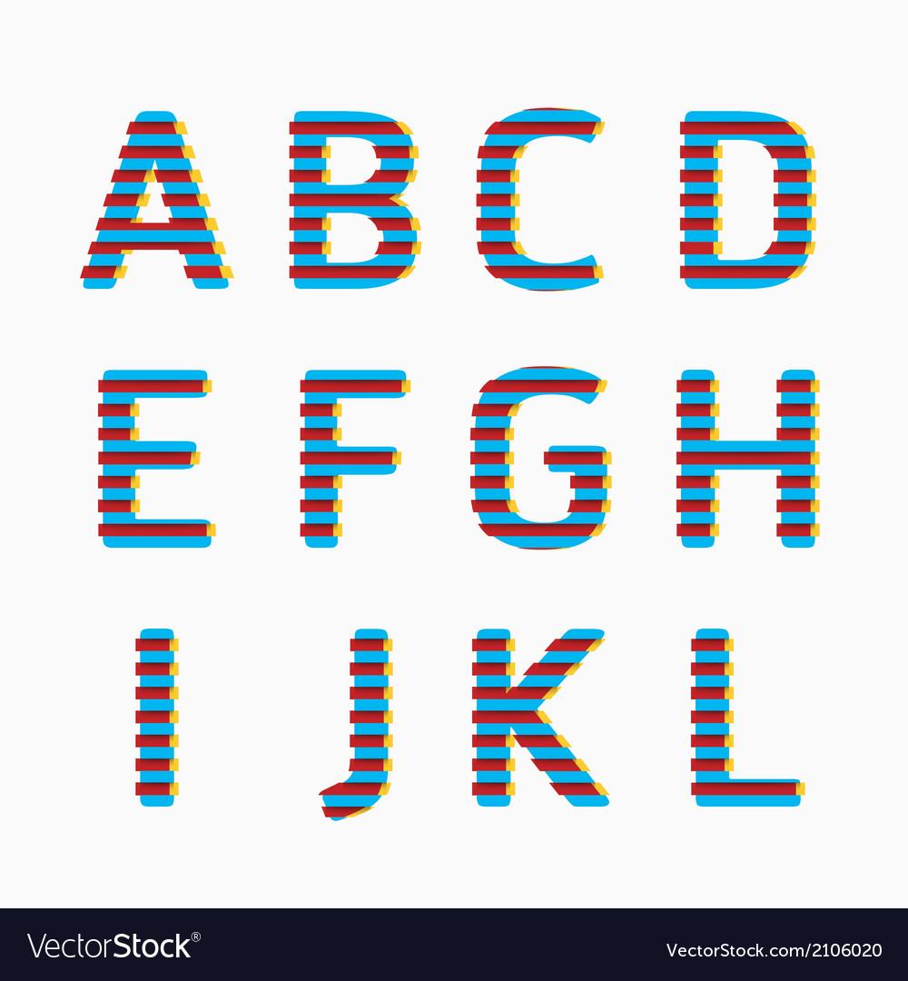 Alphabet modern paper line colour concept