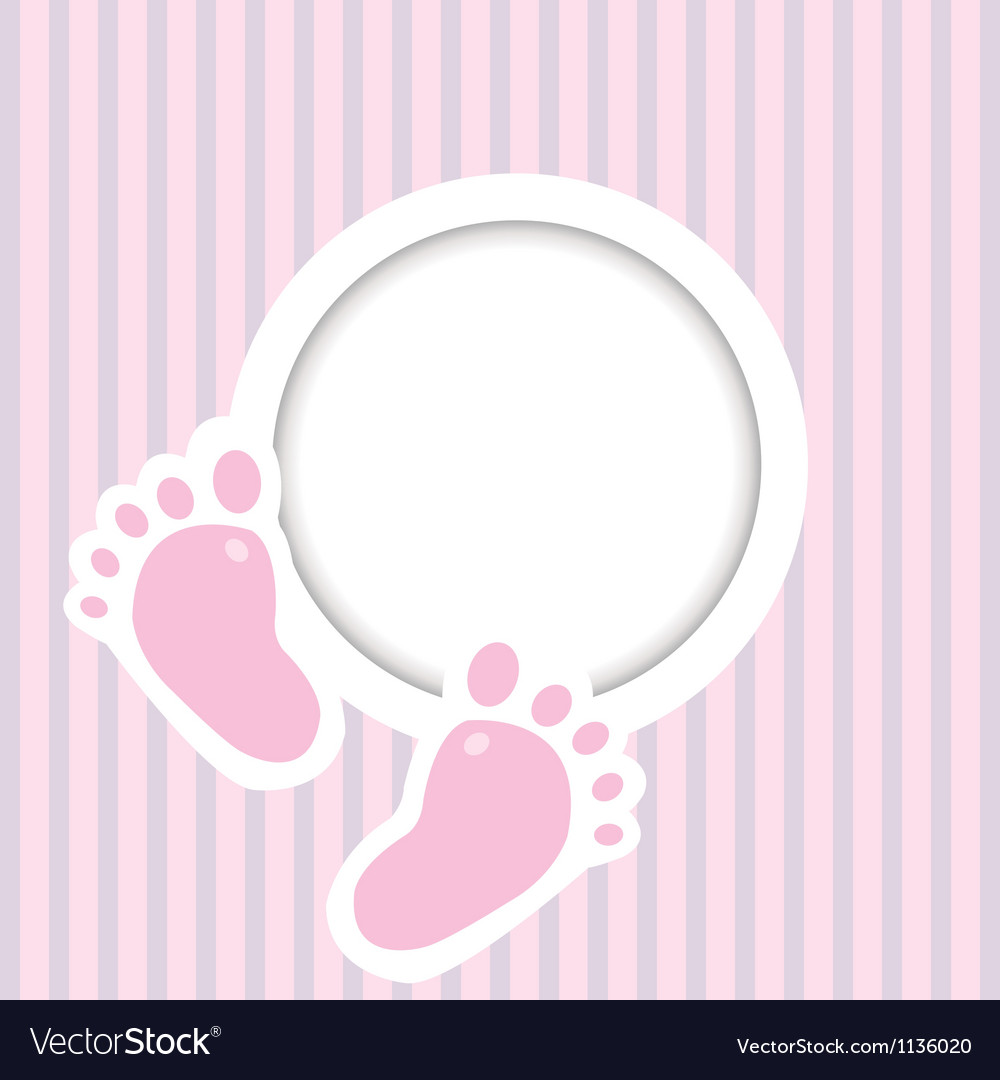 Background with two child foot steps and place for vector image