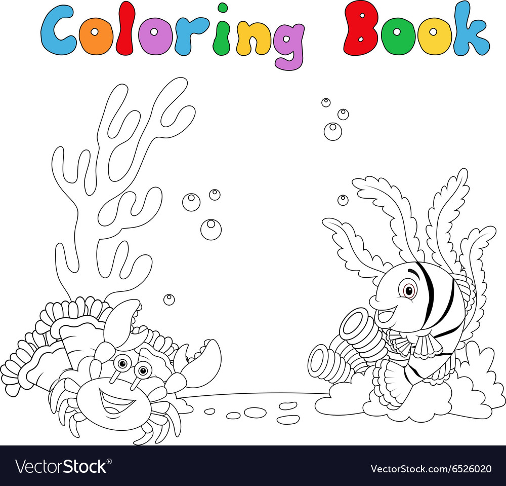 Cartoon under water coloring book