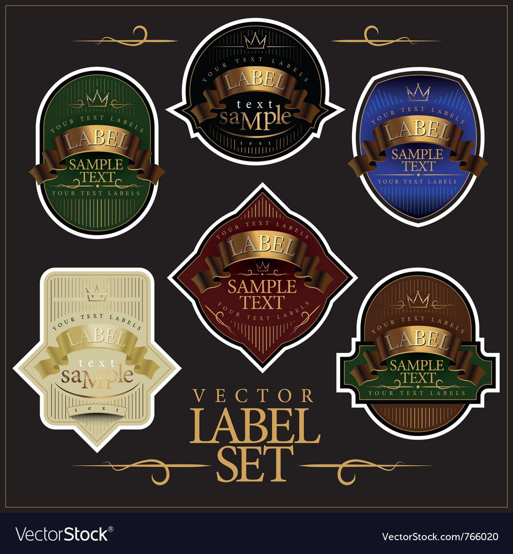 Detailed ornate various color label set