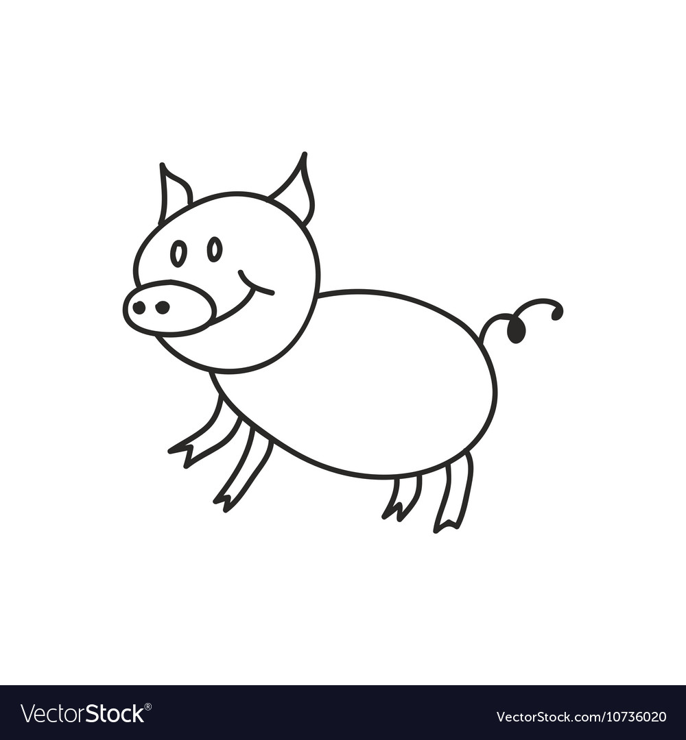 Doodle pig animal icon