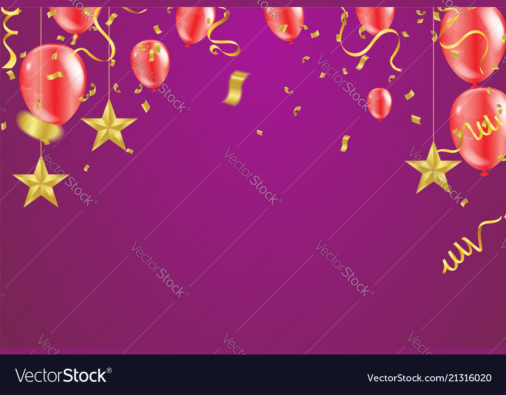Grand opening card with air red balloons and star