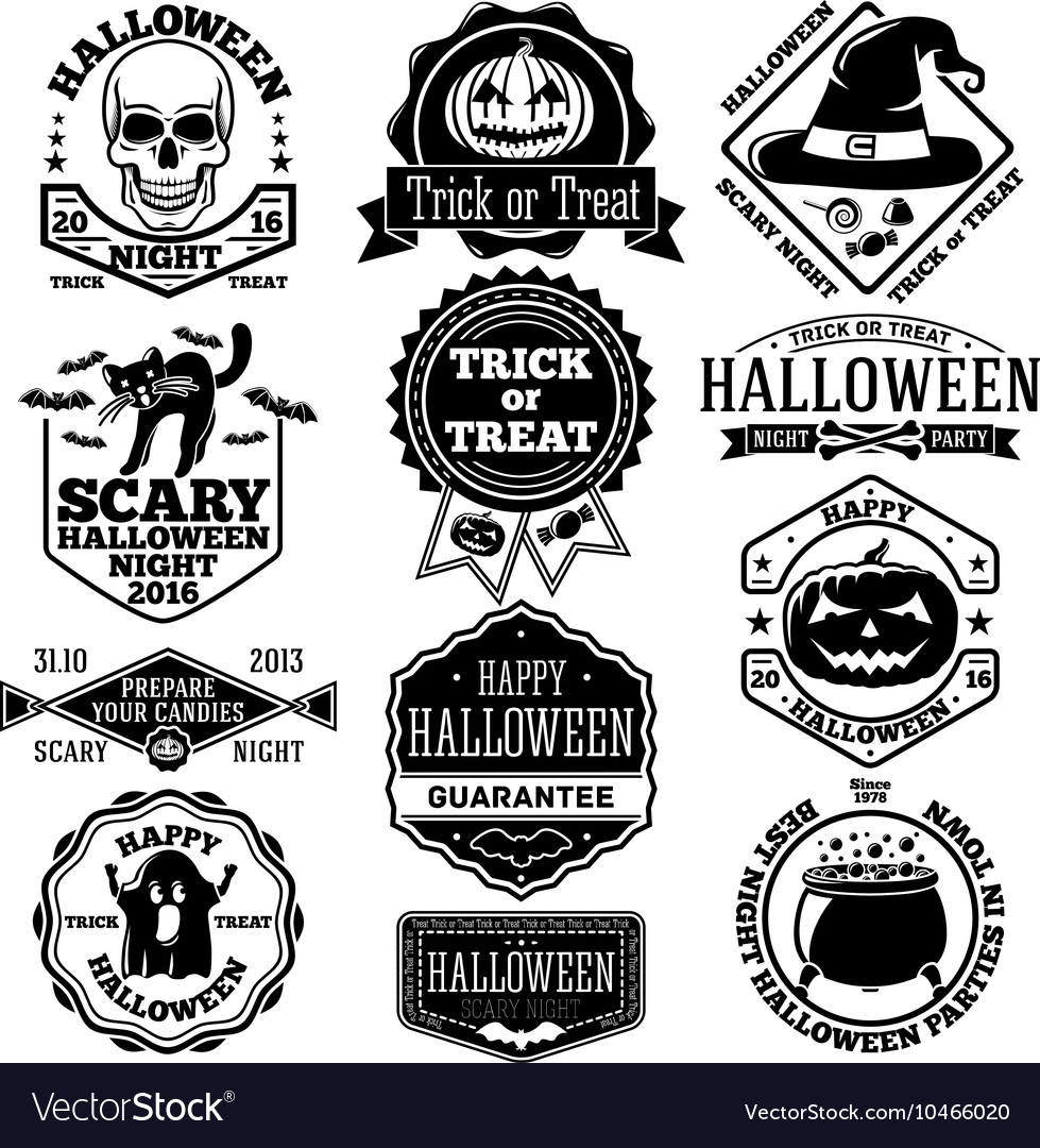 Halloween labels badges set With kcull