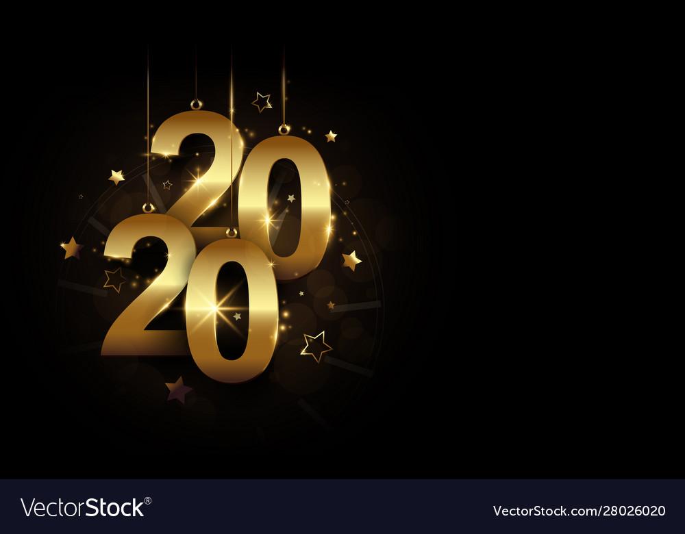 Happy new year 2020 banner golden sparkling luxury