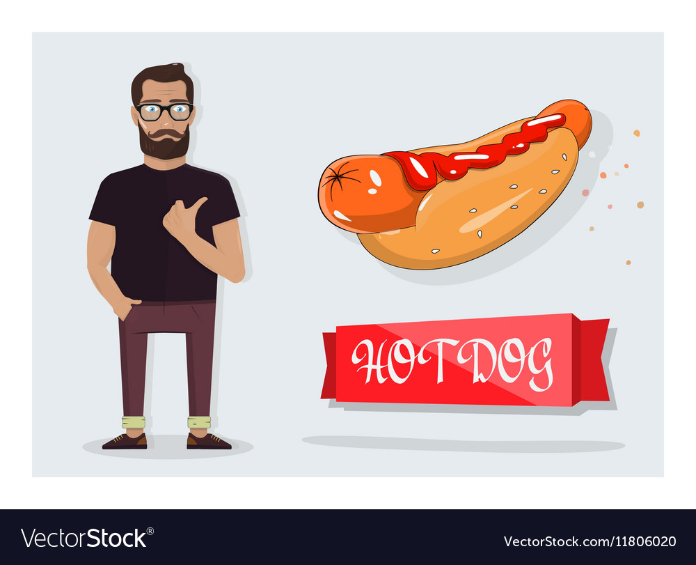 Hot dog and a man for the decoration of cafes