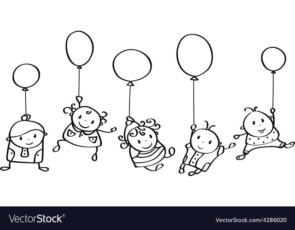 Kids contour vector image