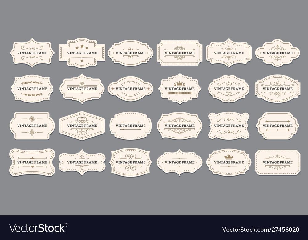Ornamental label frames old ornate labels