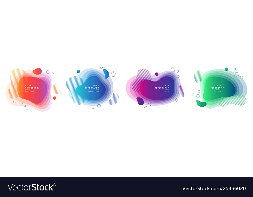 Set isolated fluid blobs with gradient color