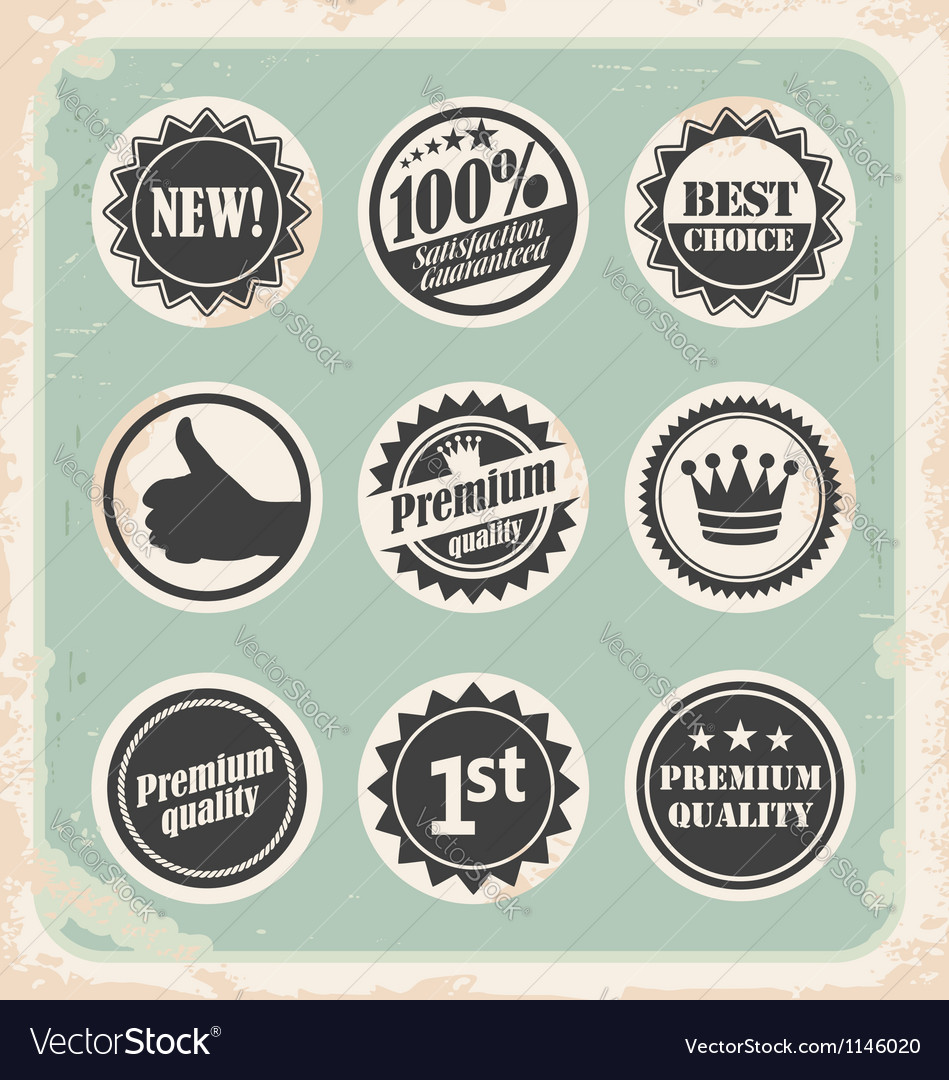 Set of promotional retro labels