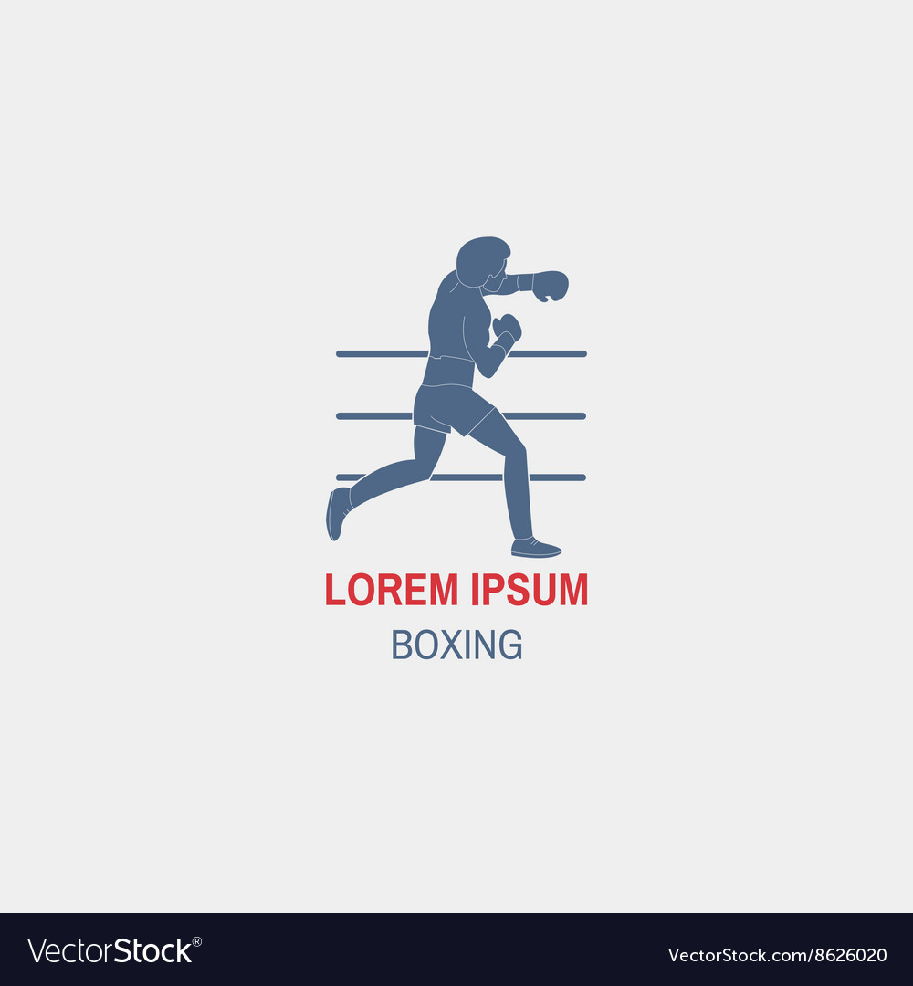 silhouette of a boxer with gloves boxing vector image
