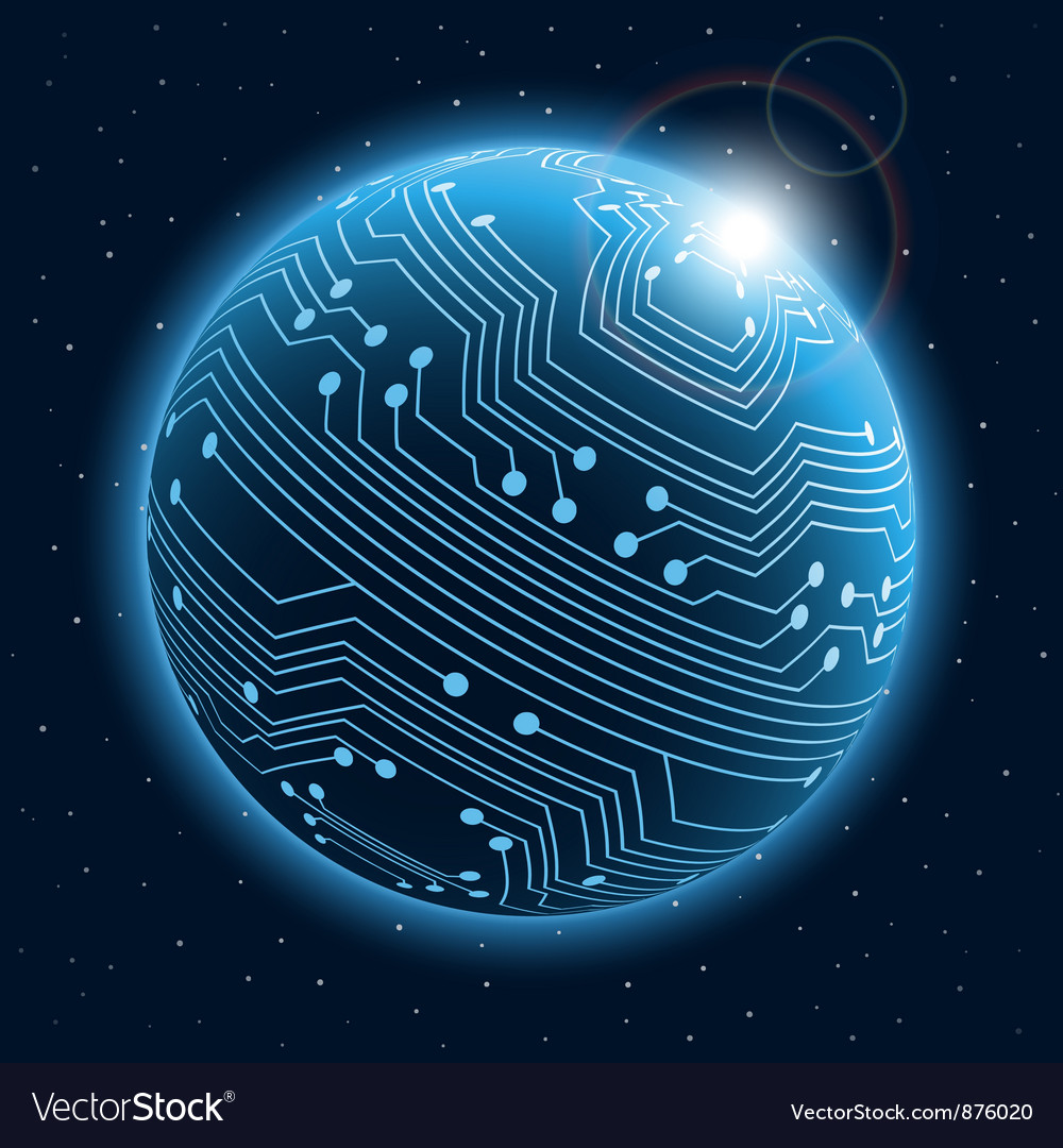 Technology planet vector image