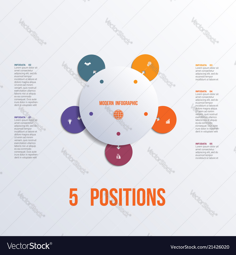 Template flower colorful infographics 5 positions