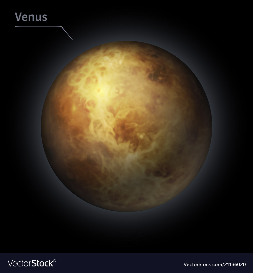 Venus realistic planet is isolated on the cosmic