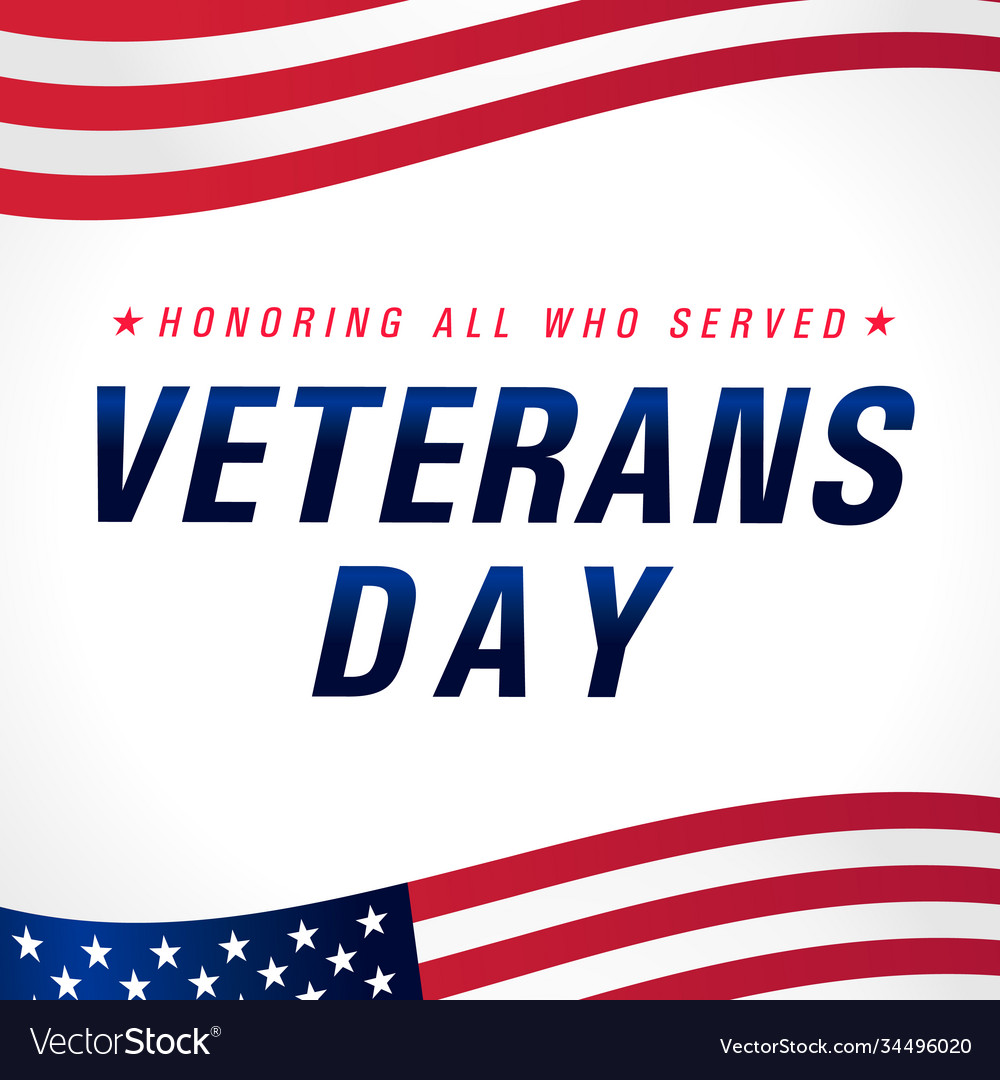 Veterans day november 11 usa flag banner