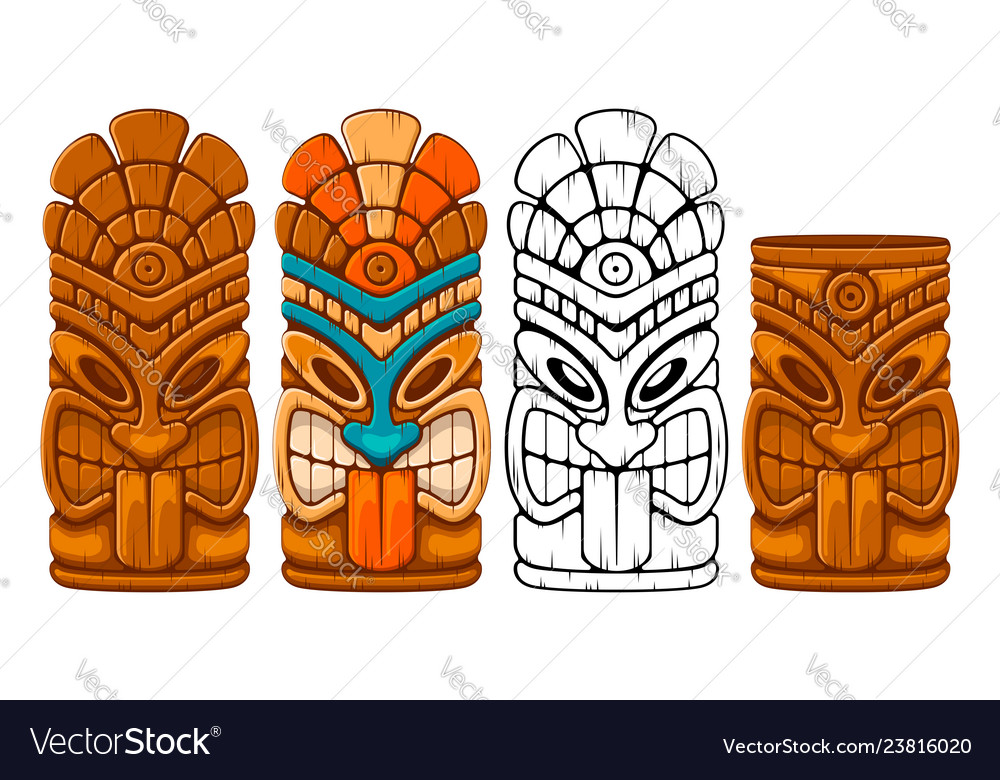 Wooden tiki mask set