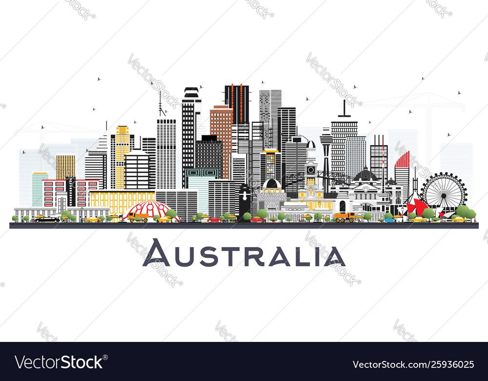 Australia city skyline with gray buildings