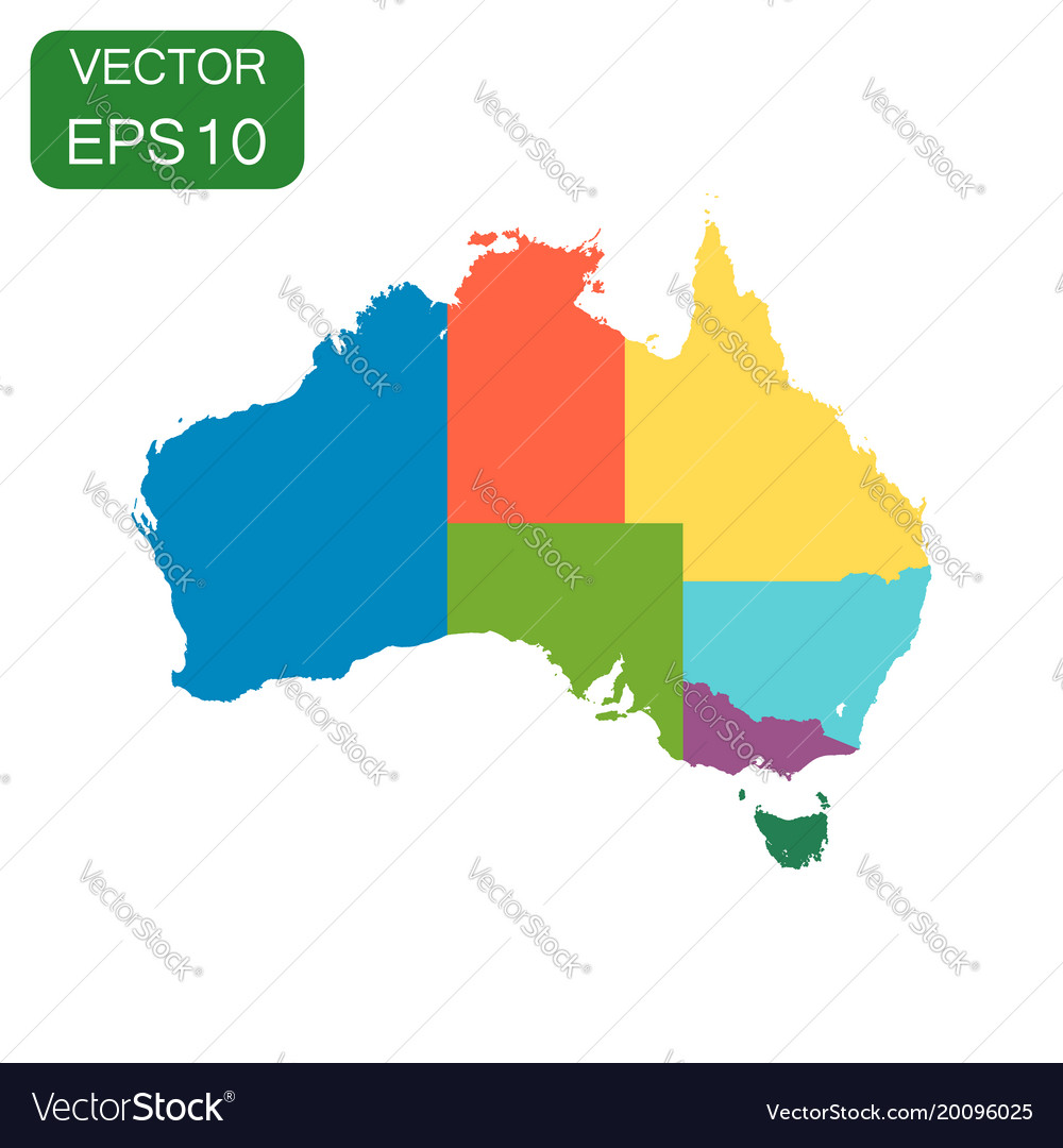 Australia color map with regions icon business