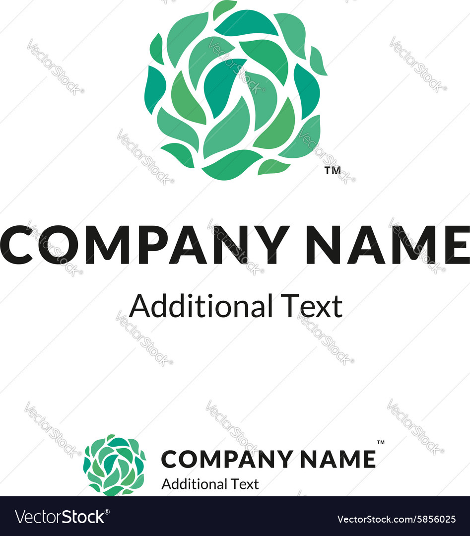 Beautiful ecological Logo of green leaves vector image