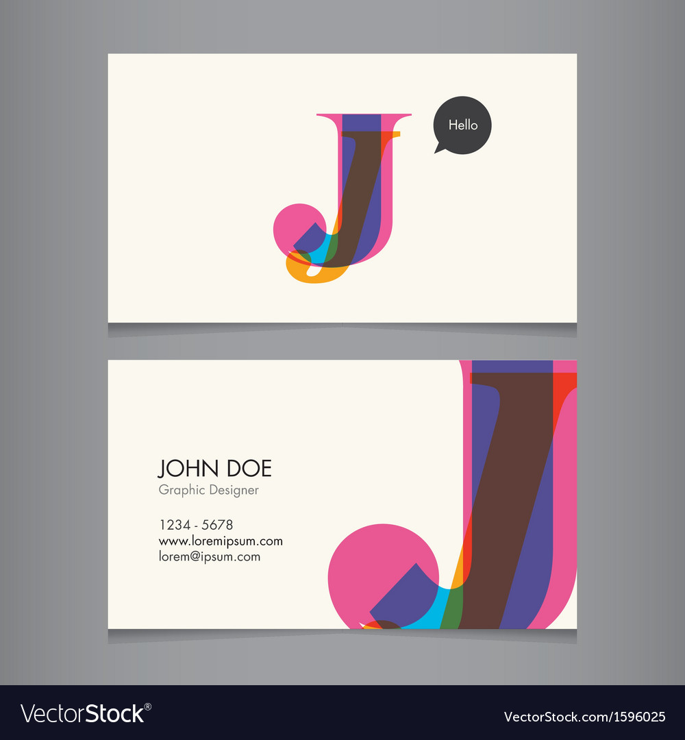 Business card template letter j royalty free vector image business card template letter j vector image reheart Gallery