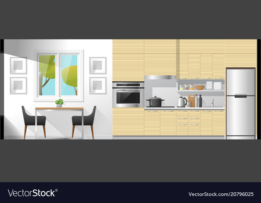 Dining room and kitchen interior background