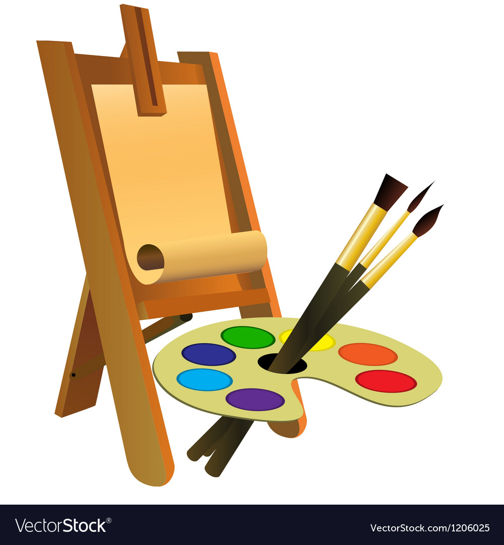 Easel palette and brushes vector image
