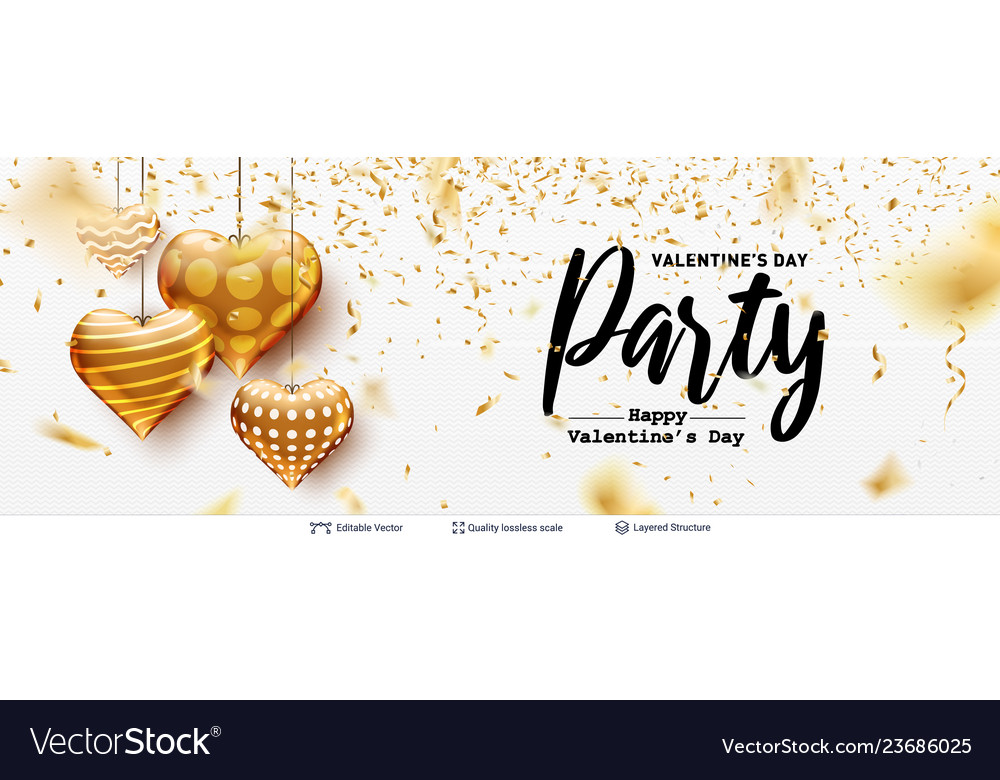 Editable party text and golden hearts on white