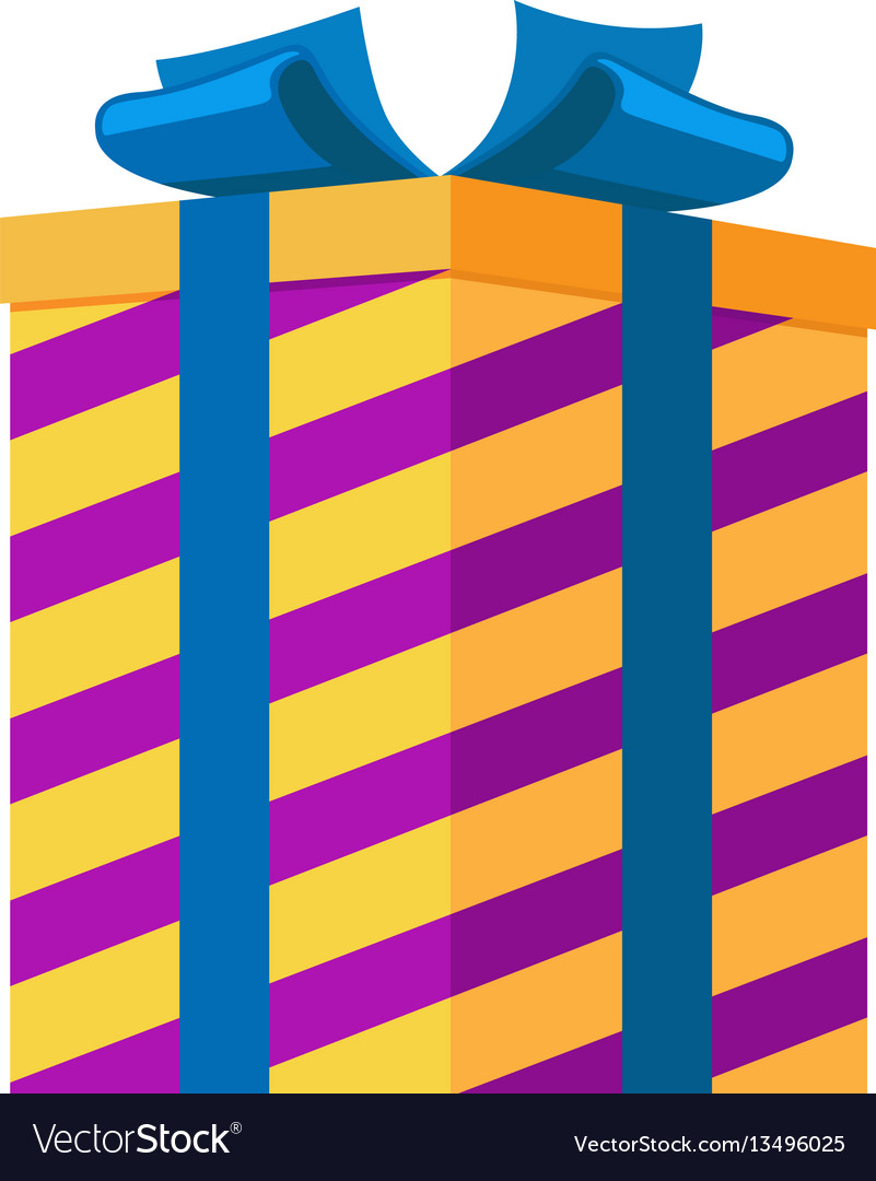 Gift box isolated striped present for festival vector image