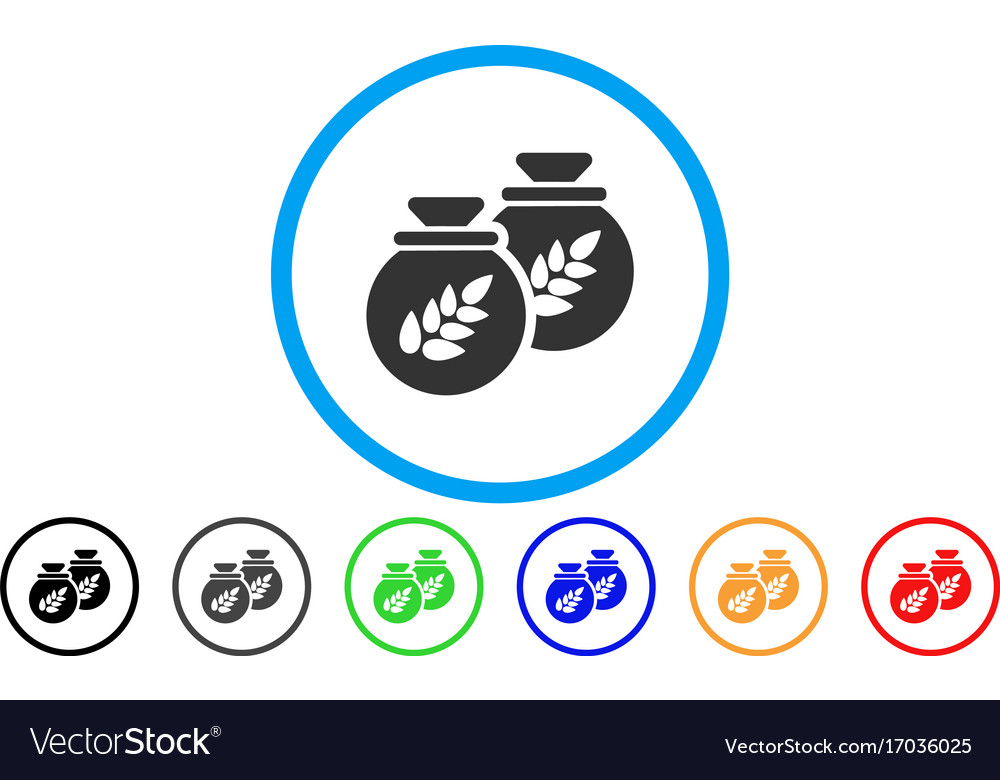 Grain harvest sacks rounded icon vector image